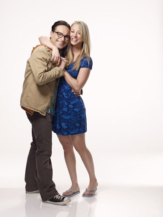 "Johnny Galecki as Leonard and Kaley Cuoco as Penny in ""The Big Bang Theory."""