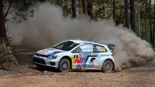 Volkswagen driver Sebastien Ogier of France slides his car through a corner during Rally Australia (AFP)