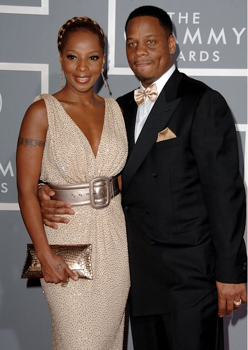 Mary J. Blige and Kendu Isaacs at The 49th Annual Grammy Awards.