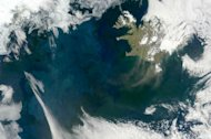Plankton blooms in the North Atlantic in this photo taken in spring, 2012.