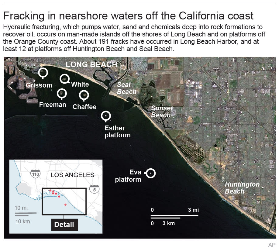 Map shows fracking sites off the California coast; 2c x 4 inches; 96.3 mm x 101 mm;