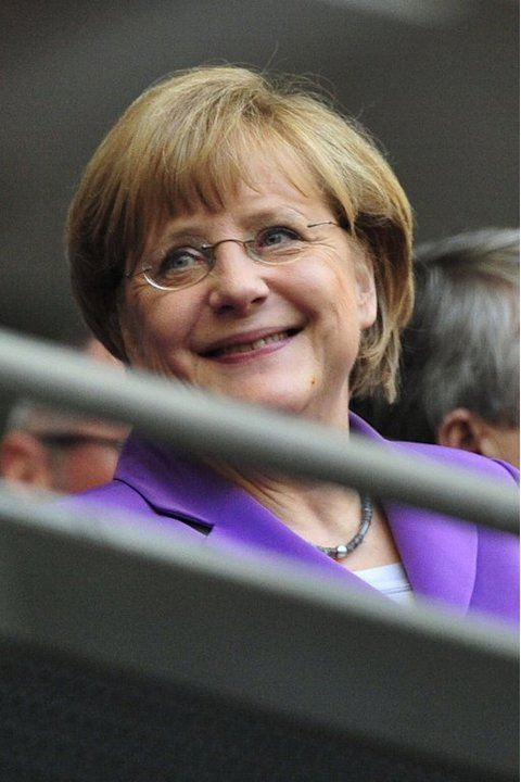 German chancellor Angela Merkel attends the UEFA Champions League final at Wembley Stadium in London on May 25, 2013