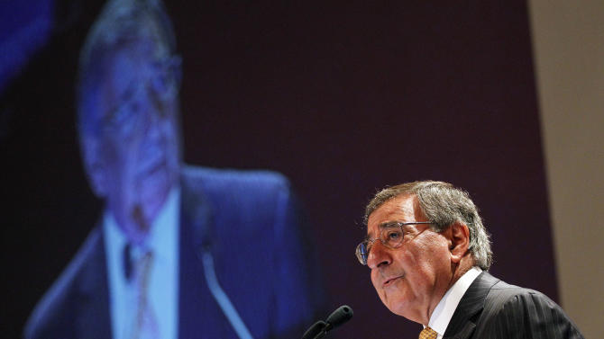 """U.S. Defense Secretary Leon Panetta delivers his speech  on the """"US Rebalance Towards The Asia Pacific"""" at the IISS Shangri-la Security Summit on Saturday June 2, 2012 in Singapore.(AP Photo/Wong Maye-E)"""