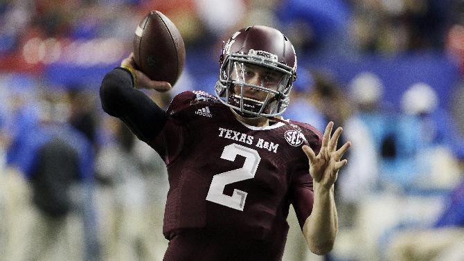 In this Dec. 31, 2013, file photo, Texas A&M quarterback Johnny Manziel (2) warms up before the start of the Chick-fil-A Bowl NCAA college football game against Duke in Atlanta. Manziel is a 2012 Heisman Trophy winner was one of most exciting and productive players in college football history. He is a top prospect in the upcoming NFL draft