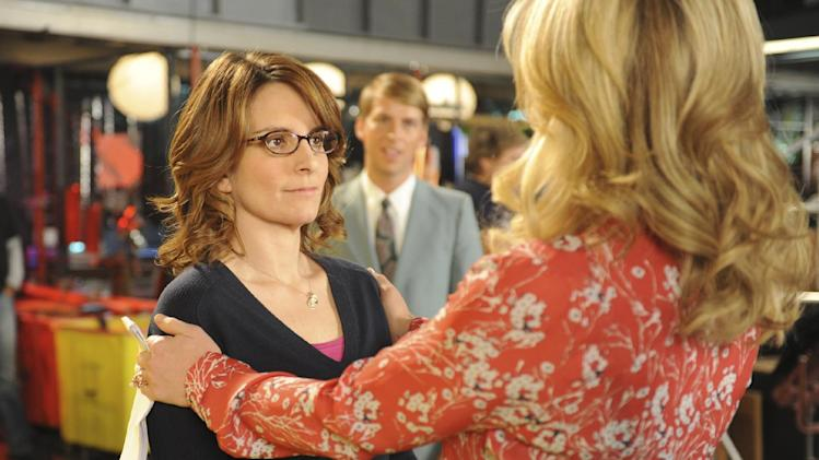 "This image released by NBC shows Tina Fey as Liz Lemon, left, and Jane Krakowski as Jenna Maroney in a scene from the series finale of ""30 Rock,"" airing Thursday, Jan. 31, 2013 on NBC. (AP Photo/NBC,  Ali Goldstein)"