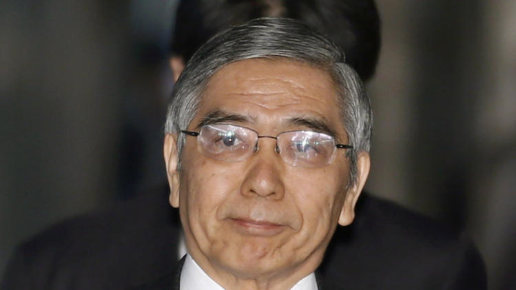 FILE - In this March 4, 2012 file photo, Asian Development Bank President Haruhiko Kuroda, who was recently nominated by Japan's Prime Minister Shinzo Abe to head the country's central bank, arrives at a lower house committee meeting in Tokyo. The lower house of Japan's parliament has endorsed Kuroda, a finance ministry veteran, to become central bank governor and spearhead efforts to break the world's third-largest economy out of its long bout of deflation. (AP Photo/Shizuo Kambayashi, File)