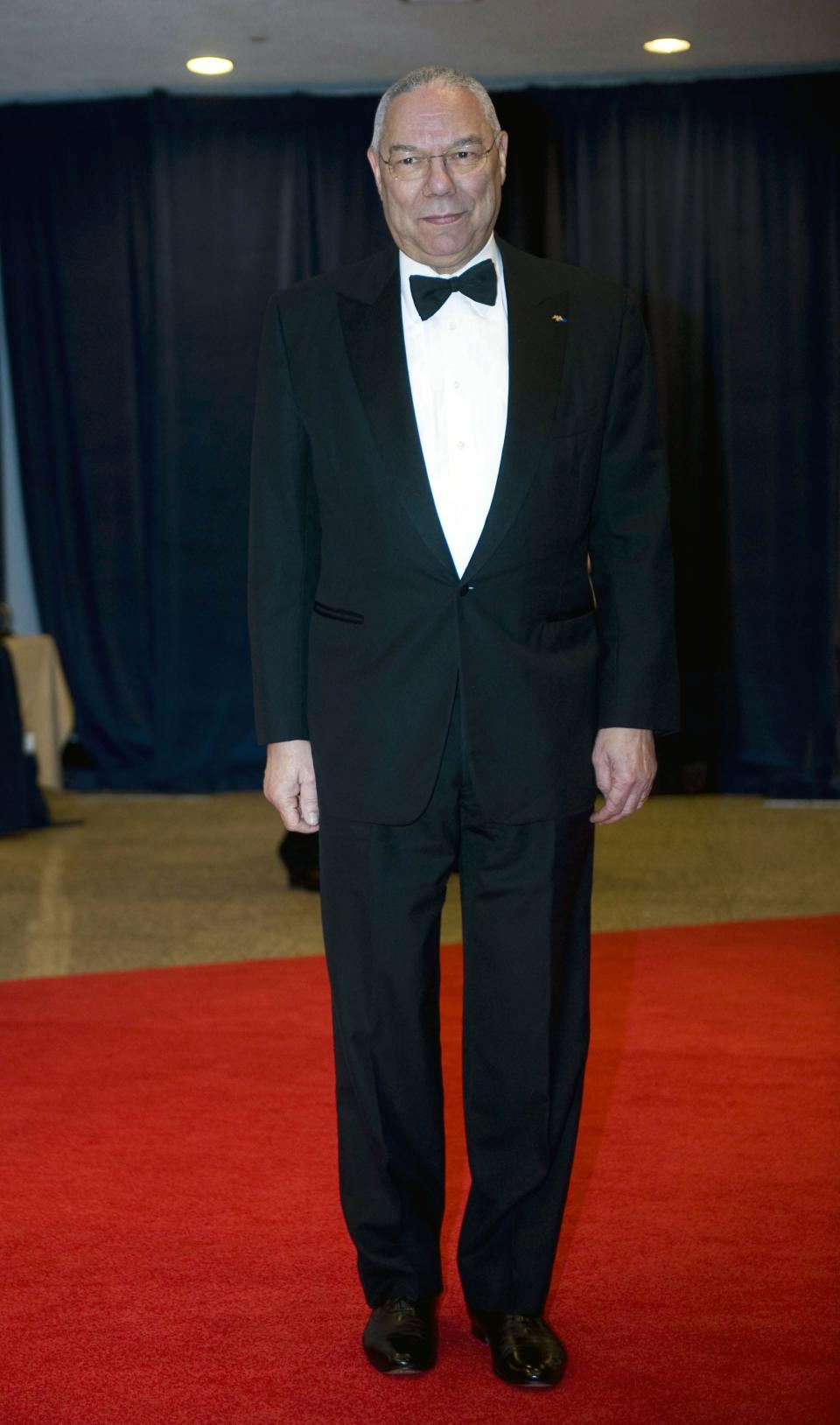 Former Secretary of State Colin Powell arrives at the White House Correspondents' Association Dinner on Saturday, April 28, 2012 in Washington.  (AP Photo/Kevin Wolf)