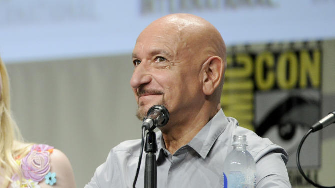 """Ben Kingsley attends """"The Boxtrolls"""" panel on Day 3 of Comic-Con International on Saturday, July 26, 2014, in San Diego. (Photo by Chris Pizzello/Invision/AP)"""