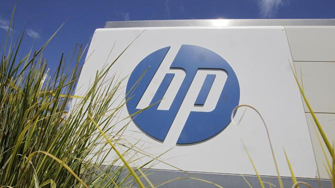 In this Aug. 21, 2012 photo, the Hewlett-Packard Co. logo is seen outside the company's headquarters in Palo Alto, Calif. Hewlett-Packard Co. reports quarterly financial results after the market closes on Wednesday, May 22, 2013. (AP Photo/Paul Sakuma)