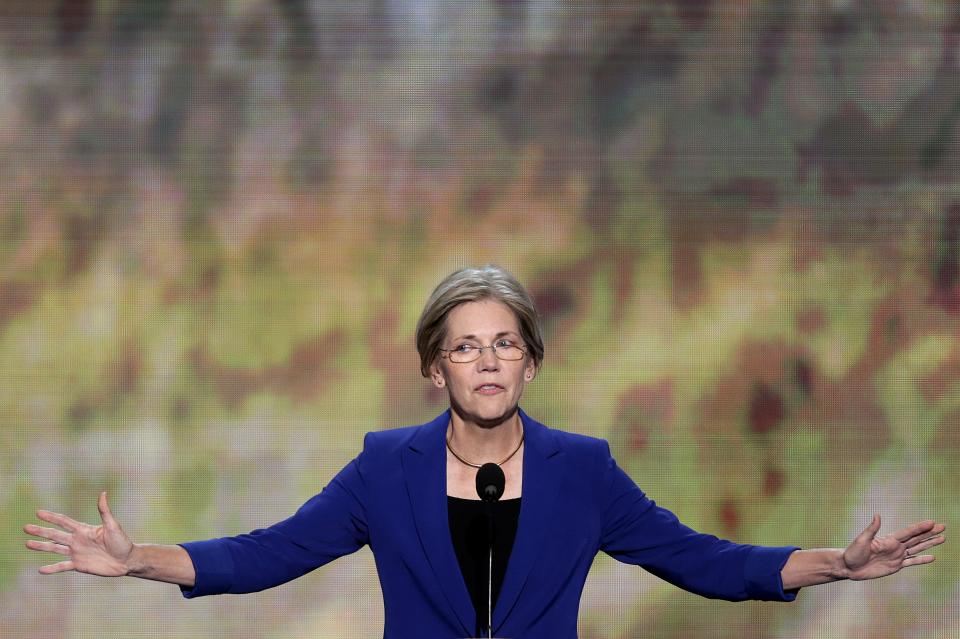 Senate candidate from Massachusetts Elizabeth Warren addresses the Democratic National Convention in Charlotte, N.C., on Wednesday, Sept. 5, 2012. (AP Photo/J. Scott Applewhite)