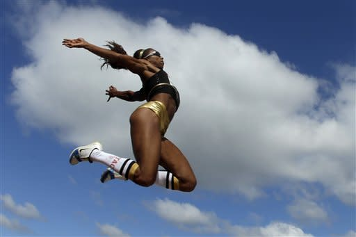 Brianna Glenn competes in the women's long jump at the U.S. Olympic Track and Field Trials Sunday, July 1, 2012, in Eugene, Ore. (AP Photo/Charlie Riedel)
