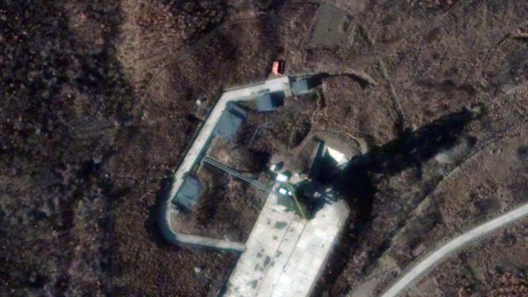 This Friday Nov. 23, 2012 satellite image provided by DigitalGlobe shows the Sohae Satellite Launch Station in Cholsan County, North Pyongan Province, North Korea. DigialGlobe said Monday Nov. 26  that based on analysis of the image, North Korea could be ready to launch a missile in three weeks time from the facility. (AP Photo/DigitalGlobe)
