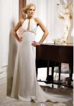 Sheath Halter Floor Length Satin Beading Wedding Dress Style