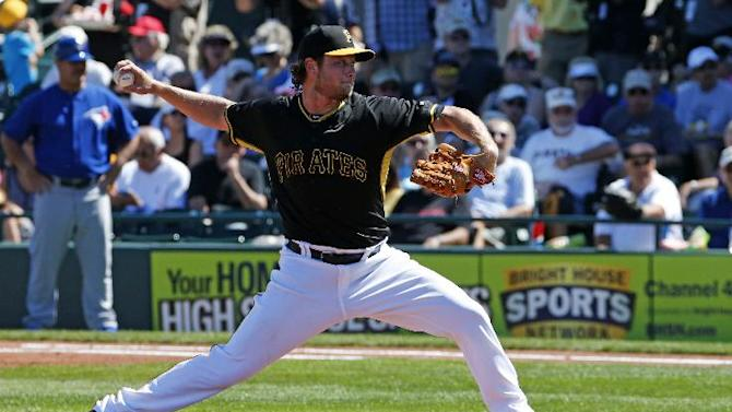 Pittsburgh Pirates starting pitcher Gerrit Cole throws in the first inning of a spring training exhibition baseball game against the Toronto Blue Jays in Bradenton, Fla., Wednesday, March 4, 2015.  (AP Photo/Gene J. Puskar)