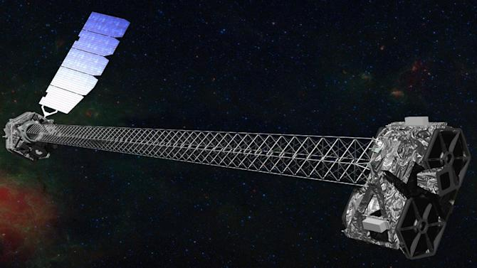 This image provided by NASA shows an artist rendering of the space agency's latest X-ray telescope. NuStar is set to launch on a two-year mission on Wednesday June 13,2012 from the Kwajalein Atoll in the Pacific to study black holes and other celestial objects. (AP Photo/NASA)