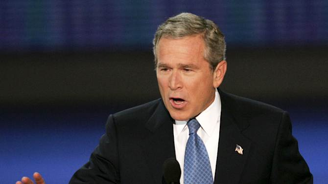 FILE - In this Sept. 2, 2004 file photo, President George W. Bush speaks to the delegates at the Republican National Convention in New York. Mitt Romney did not mention the war in Afghanistan, where 79,000 US troops are fighting, in his speech accepting the Republican presidential nomination on Thursday. The last time a Republican presidential nominee did not address war was 1952, when Dwight Eisenhower spoke generally about American power and spreading freedom around the world but did not explicitly mention armed conflict. Below are examples of how other Republican nominees have addressed the issue over the years, both in peacetime and in war.  (AP Photo/J. Scott Applewhite, File)