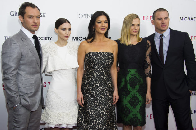 Jude Law, from left, Rooney Mara, Catherine Zeta-Jones, Vinessa Shaw and Channing Tatum attend the premiere of &quot;Side Effects&quot; hosted by the Cinema Society and Open Road Films on Thursday, Jan. 31, 2013 in New York. (Photo by Charles Sykes/Invision/AP)