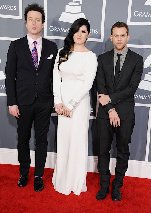 The 55th Annual GRAMMY Awards - Arrivals: Morgan Kibby and Anthony Gonzalez of M83