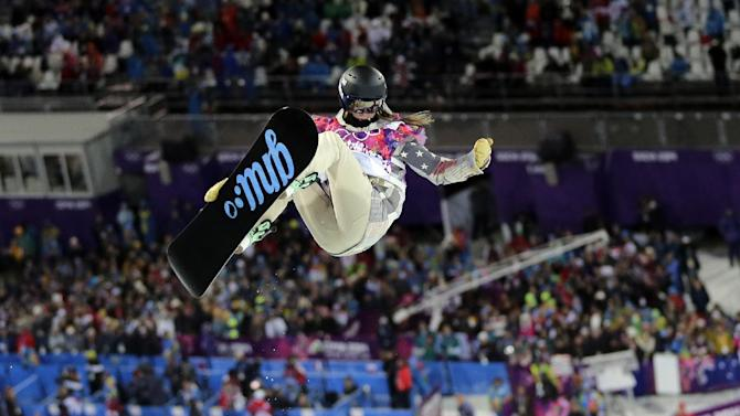 during the women's snowboard halfpipe semifinal at the Rosa Khutor Extreme Park, at the 2014 Winter Olympics, Wednesday, Feb. 12, 2014, in Krasnaya Polyana, Russia
