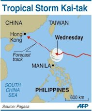 A map showing the path of Tropical Storm Kai-tak. Four people were killed as another tropical storm swept across the Philippines on Wednesday, triggering landslides in the mountainous north and dumping more heavy rain on the flood-battered capital