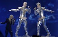 Ireland&#39;s Jedward perform during the 1st semifinal 2012 Eurovision Song Contest at the Baku Crystal Hall in Baku, Tuesday, May 22, 2012. The finals of the 2012 Eurovision Song Contest will be held at the stadium on May 26, 2012. (AP Photo/Sergey Ponomarev)