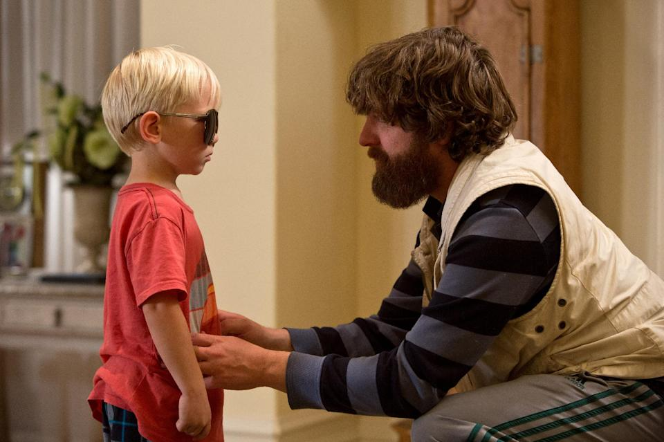 "This film publicity image released by Warner Bros. Pictures shows Grant Holmquist as Tyler/Carlos, left, and Zach Galifianakis as Alan in a scene from ""The Hangover Part III."" (AP Photo/Warner Bros. Pictures)"