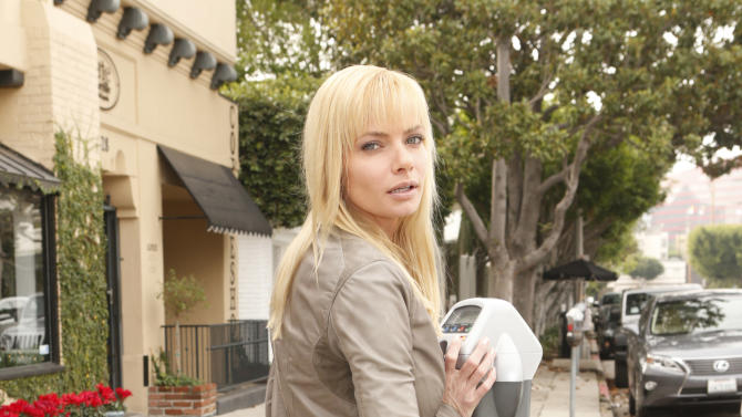 Jaime Pressly pays a meter wearing 1921 Jeans, a YoYo Yeung Jacket, and shoes by Sole Society on Tuesday December 4, 2012 in Los Angeles, California. (Photo by Todd Williamson/AP Images)