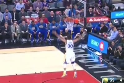 Stephen Curry tenderly deposits basketball instead of dunking