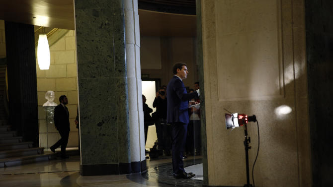 Ciudadanos party leader Rivera speaks during a news conference after his meeting with Spanish acting PM Rajoy at the Spanish Parliament in Madrid