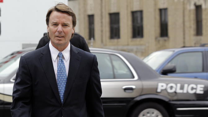 Former presidential candidate and Sen. John Edwards arrives at a federal courthouse in Greensboro, N.C., Tuesday, May 8, 2012. Edwards is accused of conspiring to secretly obtain more than $900,000 from two wealthy supporters to hide his extramarital affair with Rielle Hunter and her pregnancy. He has pleaded not guilty to six charges related to violations of campaign-finance laws. (AP Photo/Chuck Burton)