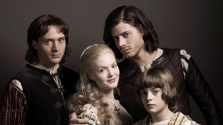 "David Oakes as Juan Borgia, Holliday Grainger as Lucrezia Borgia, Francois Arnaud as Cesare Borgia, and Aidan Alexander as Joffre Borgia in ""The Borgias."""