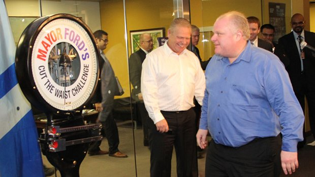 Toronto Mayor Rob Ford seen at his public weigh-in in May.