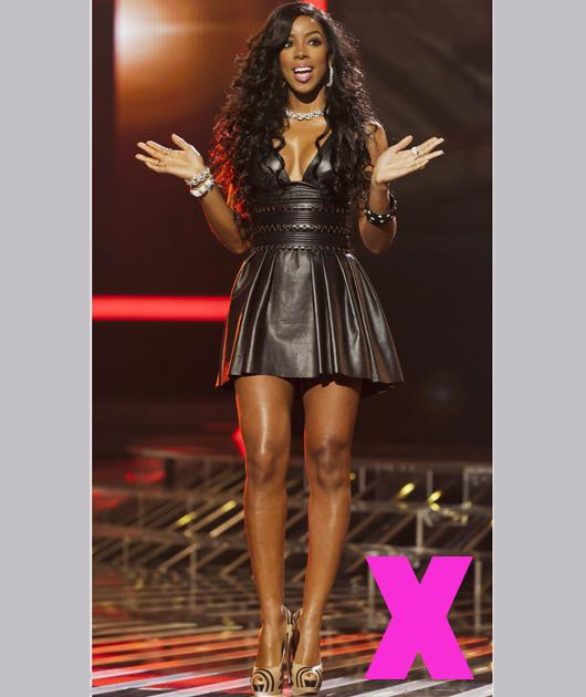 With her figure, Kelly would pretty much look amazing in anything but we're a tad unsure of this little leather dress. It'd look more at home in a West End club then on 'X Factor'. Although we do love