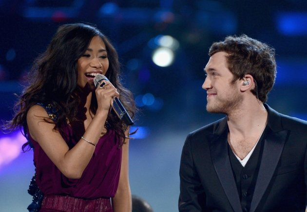 Jessica Sanchez and Phillip Phillips perform onstage during Fox's 'American Idol 2012' results show at Nokia Theatre L.A. Live in Los Angeles on May 23, 2012 -- Getty Images