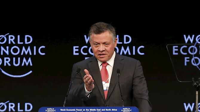 Jordan's King Abdullah speaks at the opening ceremony of the World Economic Forum