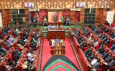 A general view of a special Parliamentary session at Parliament Building waiting to be addressed by Kenya's President Kenyatta in capital Nairobi