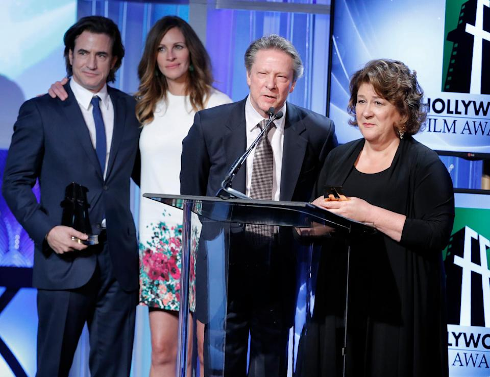 From left, Dermot Mulroney, Julia Roberts, Chris Cooper and Margo Martindale accept the Hollywood ensemble acting award at the 17th Annual Hollywood Film Awards Gala at the Beverly Hilton Hotel on Monday, Oct. 21, 2013, in Beverly Hills, Calif. (Photo by Todd Williamson/Invision/AP)