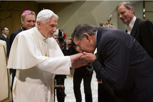 Pope Benedict XVI greets U.S. Defense Secretary Leon Panetta after the pontiff's weekly general audience in Paul VI Hall at the Vatican, on Wednesday, Jan. 16, 2013. Panetta was in the front row at Wednesday's weekly general audience in the Vatican auditorium. Panetta, a staunch Catholic, is in Rome as part of a weeklong swing across Europe, meeting with defense ministers to talk about ongoing conflicts in Afghanistan and Mali. This is expected to be Panetta's last overseas trip as Pentagon chief, as he long has planned to step down once his replacement is confirmed. (AP Photo/Jacquelyn Martin)