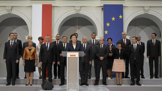 Poland's Prime Minister designate Kopacz presents her cabinet during a news conference at Politechnika Warszawska in Warsaw