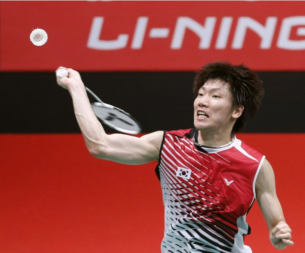 South Korea's Lee plays a shot during his singles match against Germany's Domke at the quarterfinals of the Sudirman Cup World Team Badminton Championships in Kuala Lumpur