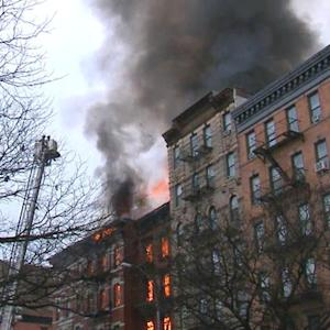 Huge fire after New York City building explosion