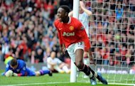 Manchester United's English forward Danny Welbeck celebrates scoring during the English Premier League football match between Manchester United and Aston Villa at Old Trafford in Manchester. United won 4-0