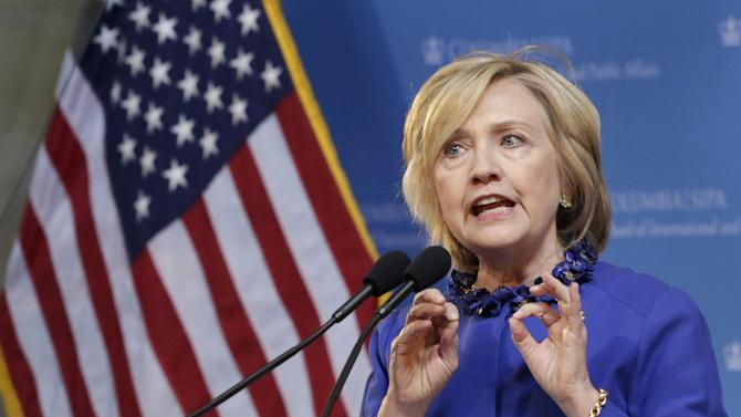 FILE - In this April 29, 2015 file photo, Hillary Rodham Clinton, a 2016 Democratic presidential contender, speaks at the David N. Dinkins Leadership and Public Policy Forum, in New York. Republican House of Representatives Speaker John Boehner says Clinton needs to back trade legislation that President Barack Obama wants — and help get Democrats on board. (AP Photo/Mark Lennihan, File)
