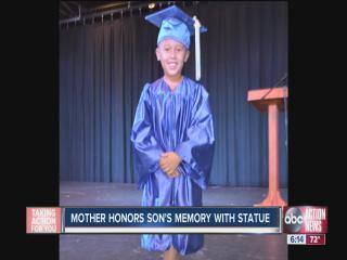 Mother honors son's memory with statue