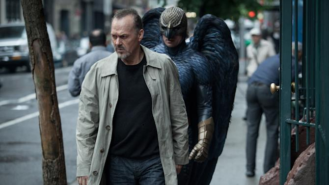 """FILE - This file photo released by Twentieth Century Fox shows Michael Keaton, left, as Riggan in a scene from the film, """"Birdman,"""" directed by Alejandro Gonzalez Inarritu. """"Birdman"""" received a welcome lift on its flight to the Oscars after winning the Producers Guild of America's highest film award Saturday night, Jan. 24, 2015, at a ceremony in Los Angeles. (AP Photo/Copyright Twentieth Century Fox, Atsushi Nishijima, File)"""
