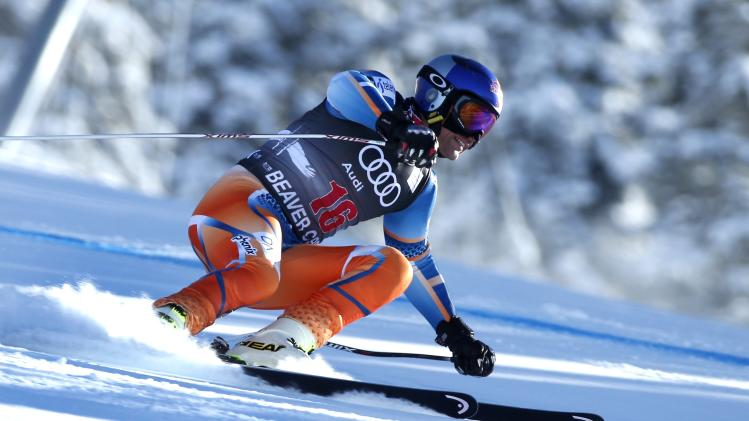 Aksel Lund Svindal of Norway skis to the 23rd fastest time during a training run for the men's World Cup Downhill ski race in Beaver Creek