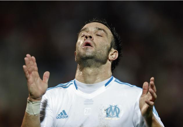 Olympique Marseille's Valbuena reacts after missing scoring opportunity against Saint Etienne during French Ligue 1 soccer match in Marseille