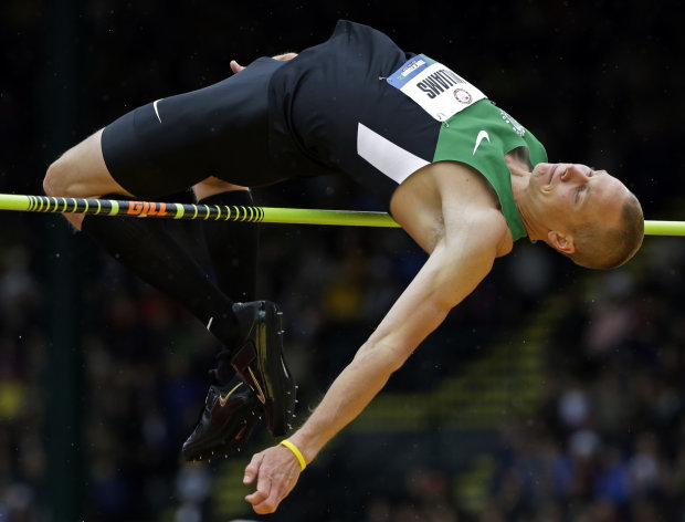 Jesse Williams participates in the men&#39;s high jump finals at the U.S. Olympic Track and Field Trials Monday, June 25, 2012, in Eugene, Ore. (AP Photo/Eric Gay)
