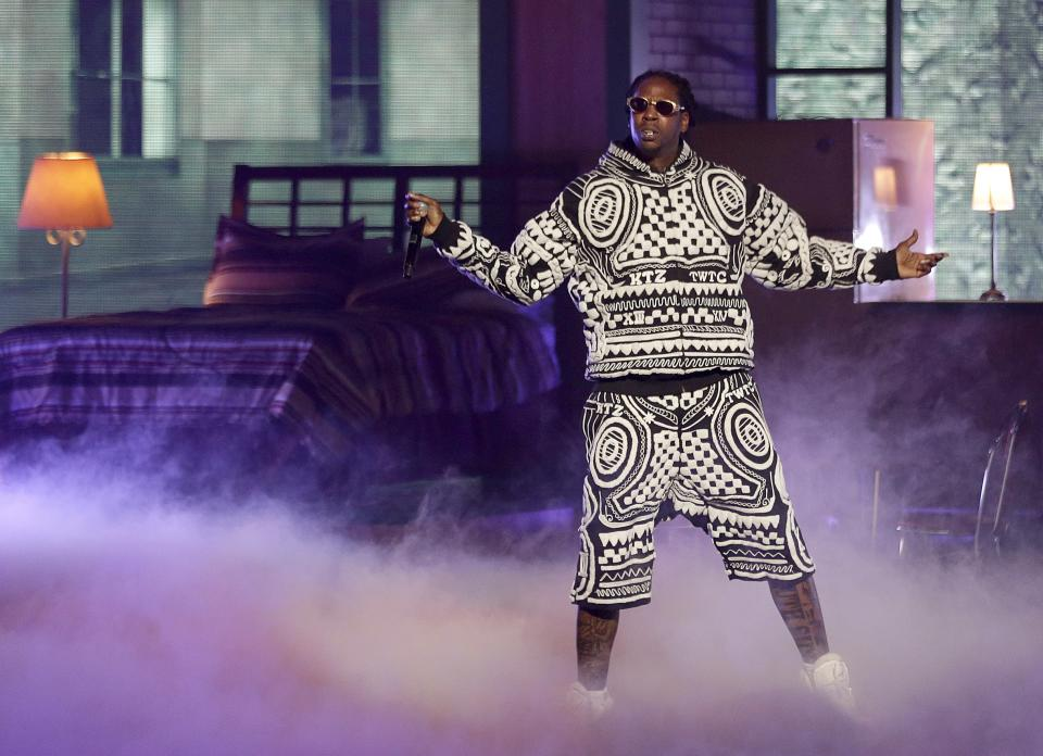 Rapper 2 Chainz performs at the BET Hip Hop Awards, Saturday, Sept. 28, 2013, in Atlanta. (AP Photo/David Goldman)