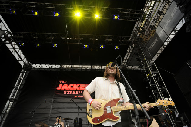 Jonny Bell, of Crystal Antlers, performs on The JACKED Stage by Doritos in Austin, Texas, Saturday, March 17, 2012. The 56-foot-tall vending machine JACKED Stage was unveiled at SXSW to debut amped up